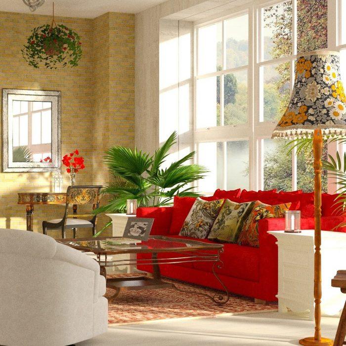 Ein Wohnzimmer mit vielen Möbeln kann minimalistisch sein.